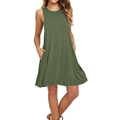 AUSELILY Women's Sleeveless Pockets Casual Swing T-Shirt Dresses at Women's Clothing store