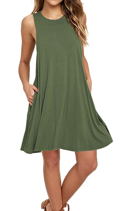 AUSELILY Women's Sleeveless Pockets Casual Swing T-Shirt Dresses (L, Army Green)