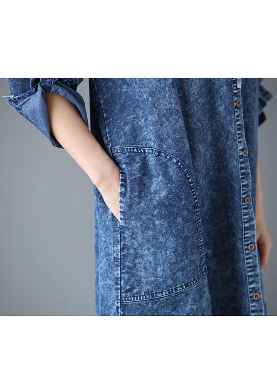 MatchLife Damen Baumwoll Revers Turn-up-Ärmeln A-Linie Jeans Kleider Blau:  Amazon.de: Bekleidung