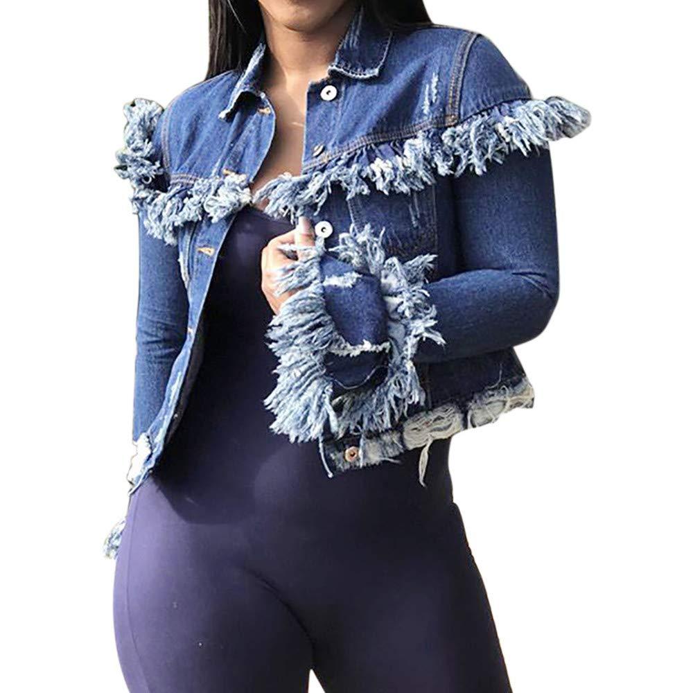 IEason-Women top Womens Sexy Long Sleeve Cowboy Fashion Coat Bllouse Button T-Shirt Tank Tops