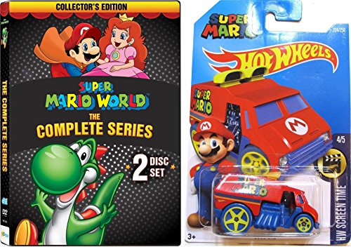 Super Mario World Complete Series DVD w/ Hot Wheels Cool One Super Mario Car 1:64 Die Cast Car Bundle Set