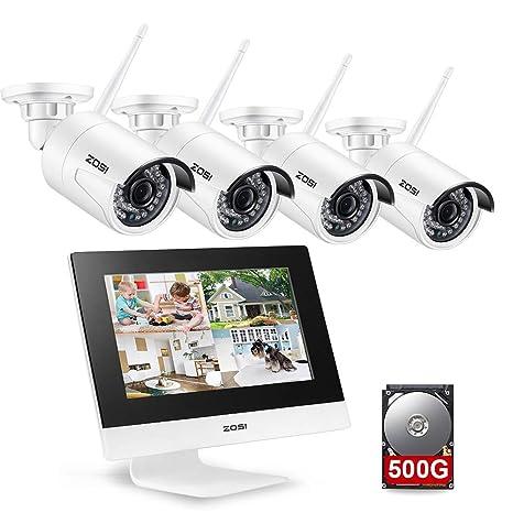 ZOSI 4CH 960P WiFi Sistema de Seguridad con 500G Disco Duro-Pantalla de LCD IP