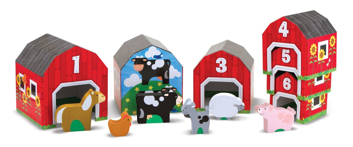 Melissa and Doug Nesting and Sorting Barns and Animals With 6 Numbered Barns and Matching Wooden Animals farm set toy kids