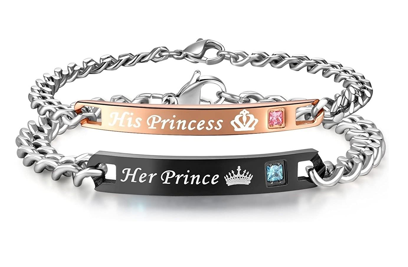 Global Jewelry Stainless Steel Her Prince His Princess Couple Bracelet Matching Set Valentine Gift GJ89234902389