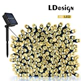 Solar String Lights, LDesign 72ft 200 LED Solar Powered String Lights Waterproof Christmas Lights with 8 Working Modes for Outdoor, Garden, Home, Christmas Party, Xmas Tree - Warm White