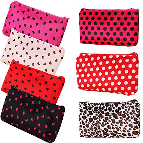 HappyDaily Pack of 7 Fashion Design Muliti-functional Bag Using as Makeup bag or Cosmetic Pouch or Travel Toiletry or Carrying Purse (Heart(Pink/Hotpink/Red/Black)+Polka Dot(Hotpink/Red)+Leopard)