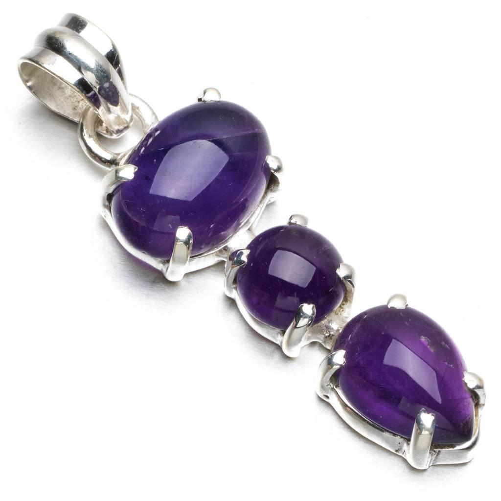StarGems(tm) Natural Amethyst Boho Style 925 Sterling Silver Pendant Necklace 2 R0568 Kim Yu Lynn JST-SG