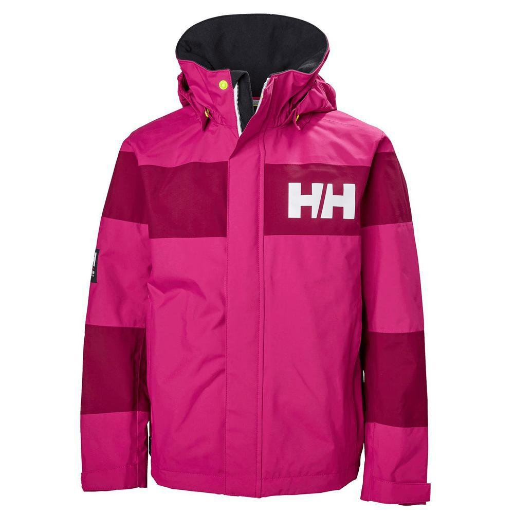 Helly Hansen Kids Salt Port Waterproof Quick Dry Lined Rain Jacket, Very Berry, Size 10