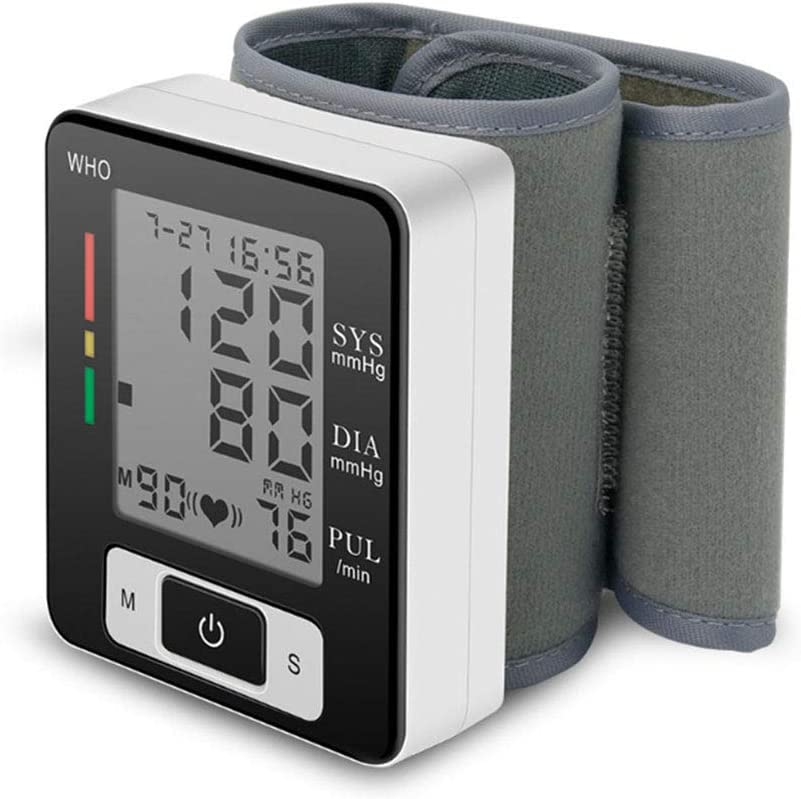 JOSN Medidor de presión neumática Voz muñequera esfigmomanómetro corazón del Monitor de la frecuencia del Pulso Monitor de presión Arterial automático tonómetro portátil