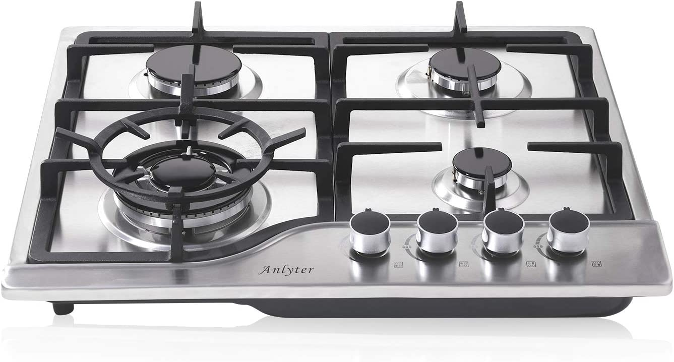 Anlyter 24 Inch Gas Cooktop, 4 Burners Built-in LPG/NG Gas Stovetop (Thermocouple Protection), Stainless Steel Gas Cooker Dual Fuel Sealed Gas Hob with Wok Stand and Pressure Regulator
