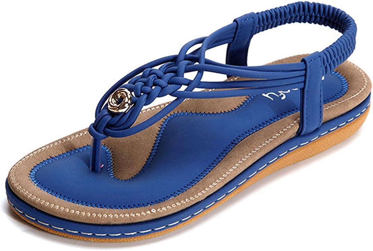 gracosy Sandalias Planas Verano Mujer Estilo Bohemia Zapatos de Dedo Sandalias Talla Grande Cinta Casuales Playa Chanclas Romanas de Mujer 2020 Azul Negro Moda