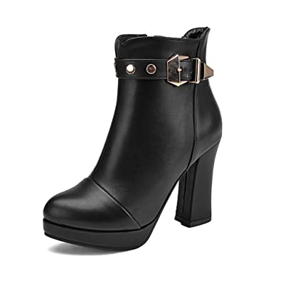 Ladies Platform Chunky Heels Buckle Imitated Leather Boots