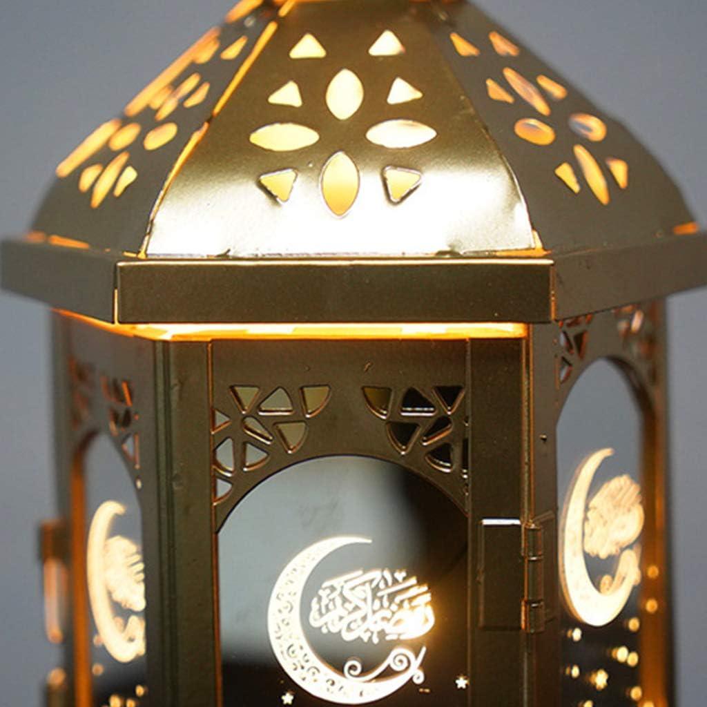 Eid Mubarak Metall LED Lichter Ramadan Dekoration Muslim,Kerzenlaterne f/ür Inneneinrichtung Perfect Flower LED-Ramadan-Laterne