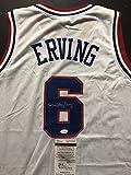 "Autographed/Signed Julius Erving ""Dr. J"" Philadelphia 76ers Sixers White Basketball Jersey JSA COA"