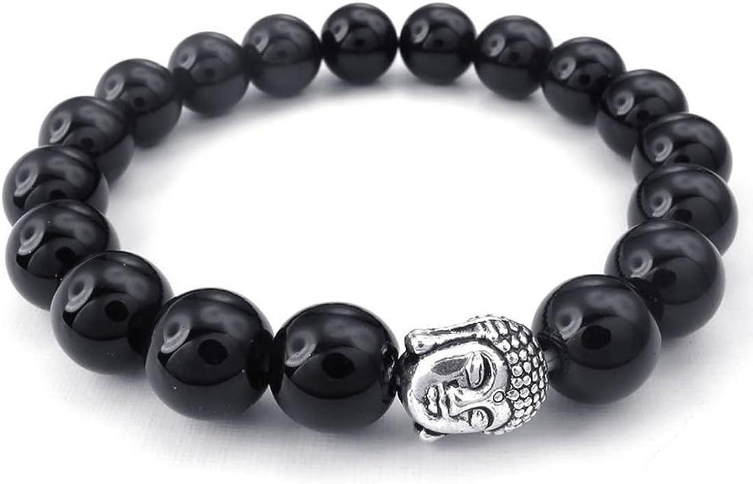 SODIAL(R) Pulsera Pulsera de Hombres Mujeres de joyeria, Ancho de 10 mm, Rosario de oracion Perlas de Estatua de Buda, aleacion de Agata Negro, Plata Negro