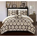 8 Piece Reversible Pintuck Geometric Themed Comforter Set King Size, Featuring Pinch Pleated Ruched Hexagonal Print Pattern All Over Bedding, Luxury Elegant Chic High End Premium Bedroom, Beige