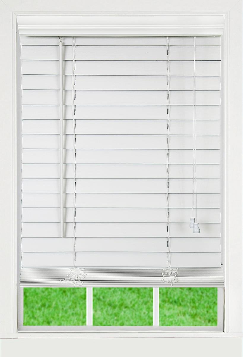 DEZ Furnishings QAWT214720 Corded 2 Inch Faux Wood Blind, White, 21.5W x 72L Inches