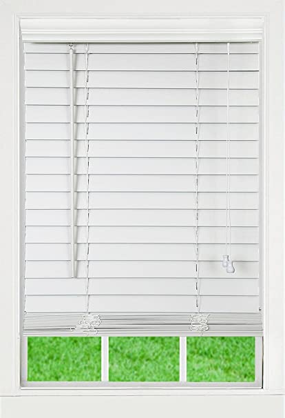 Dez Furnishings Qawt440720 Corded 2 Inch Faux Wood Blind White 44w