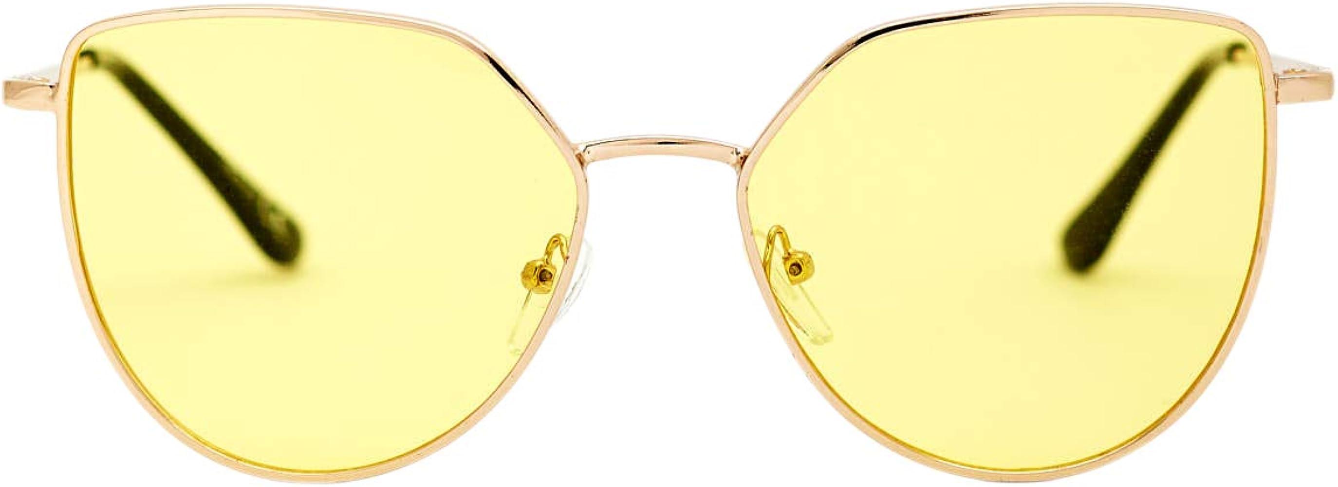 Amazon Com Gafas De Sol Rectangulares Con Marco De Metal Diseño De Ojo De Gato Estilo Vintage Ultra Transparente 100 Protección Uv Para Mujeres Talla única Clothing