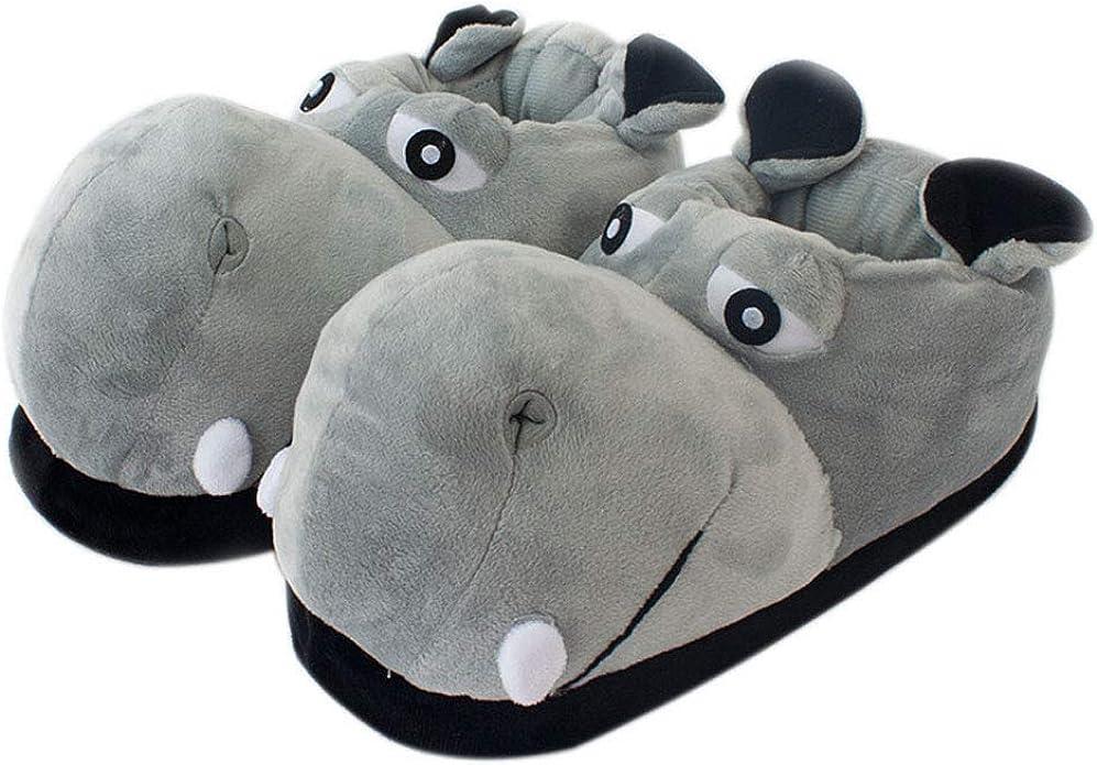 Zapatillas de algodón Zapatillas de casa de hipopótamo Adulto ...
