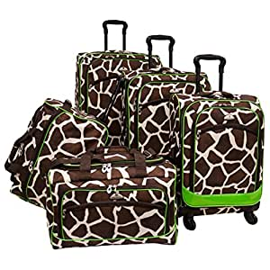 Brown Green Giraffe Pattern Rolling Upright Spinner Wheeling Suitcase 5-Piece Set, All Over African Leopard Themed, Exotic Safari Jungle Zoo Wild Animal Print, Travel Luggage with Wheels, Fashionable