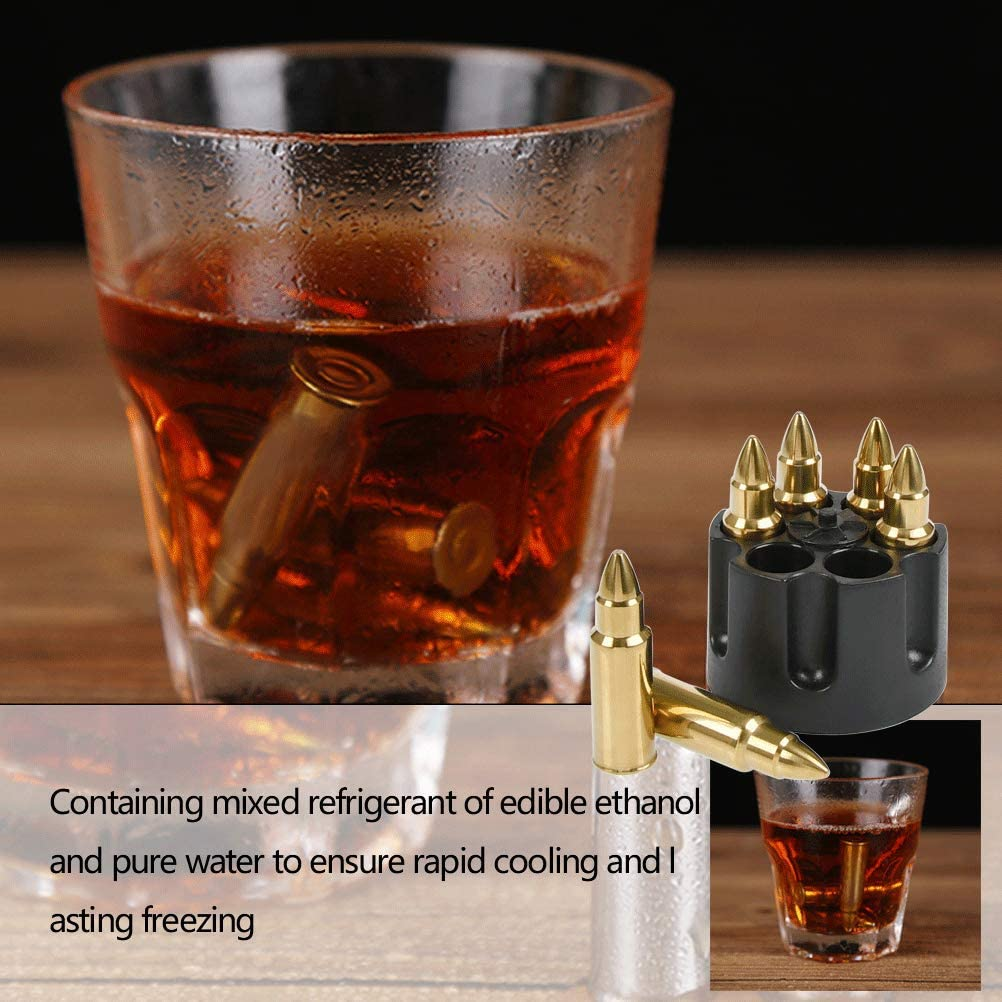 Whiskey Stones Bullets with Base Gold Stainless Steel Whiskey Bullets,Set of 6 Extra Large Bullet Shaped Ice Cube Reusable for Whisky Bourbon Best Gift for Men
