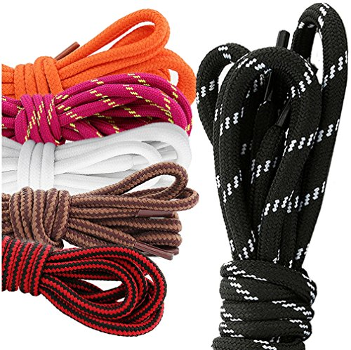 DailyShoes Round Hiking Boot Shoelaces Strong Durable Stylish Shoe Laces Fugacious Hazel , (Great for High School Shoes) Black Red 54