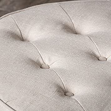 Great Deal Furniture 236671 Versailles Tufted Top Ottoman Coffee Table, Light Beige