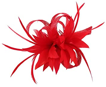 La Vogue Women Small Sinamay Fascinators Feather Flowers Hair Clip Bridal  Red f1ce48b073e