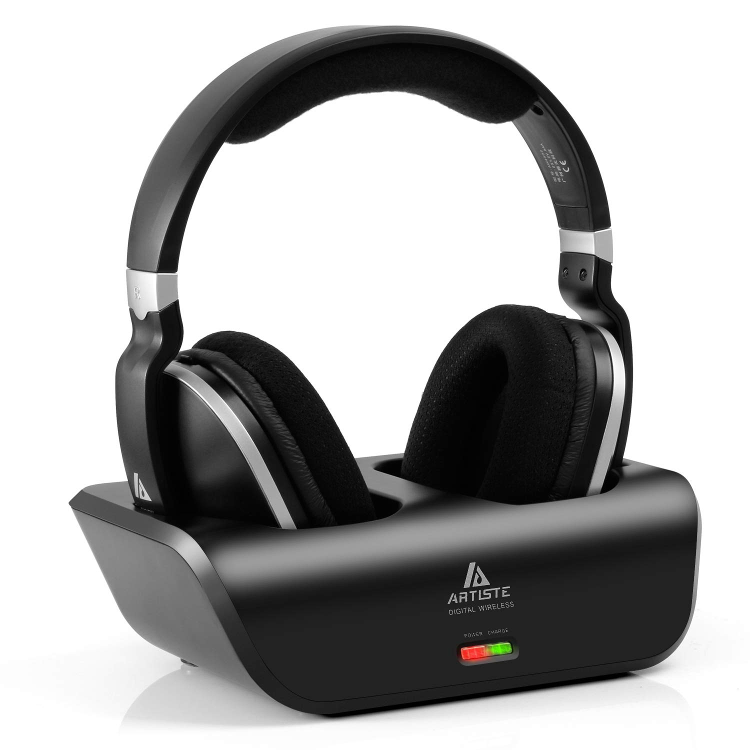ARTISTE Wireless TV Headphones Over Ear Headsets - Digital Stereo Headsets with 2.4GHz RF Transmitter, Charging Dock, 100ft Wireless Range and Rechargeable 20 Hour Battery, Black by ARTISTE