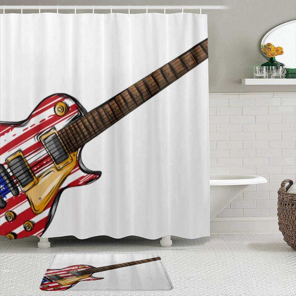 YiiHaanBuy Juego de Cortinas y tapetes de Ducha de Tela,Guitarra Eléctrica Bandera Americana,Cortinas de baño repelentes al Agua con 12 Ganchos, alfombras Antideslizantes