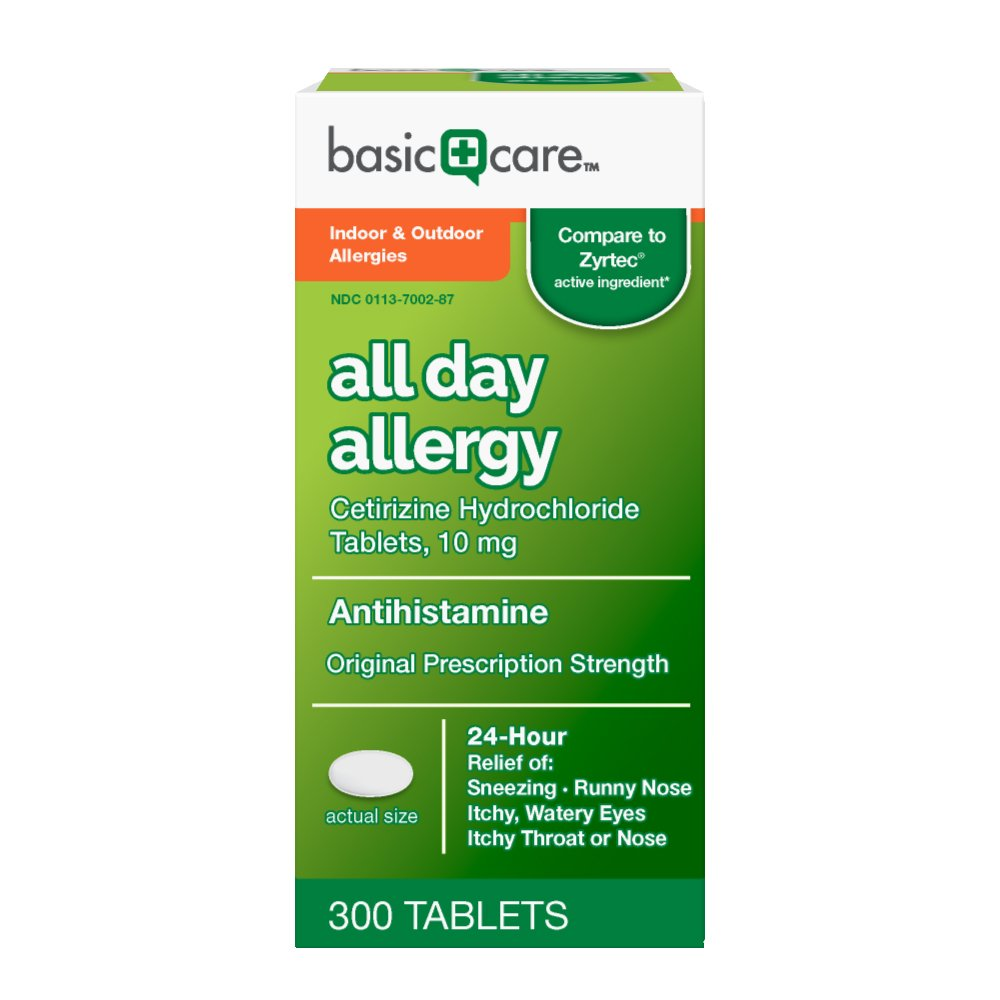 Basic Care All Day Allergy Cetirizine HCl Tablets, 300 Count