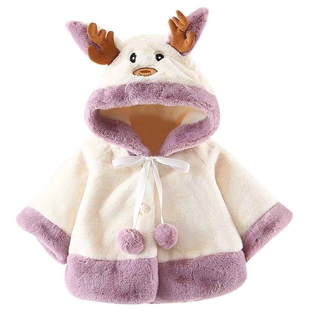 Happy childhood Baby Girls Infant Toddler Winter Coat Cloak Jacket Fur Cape Thick Warm Clothes Christmas Reindeer Hoodie