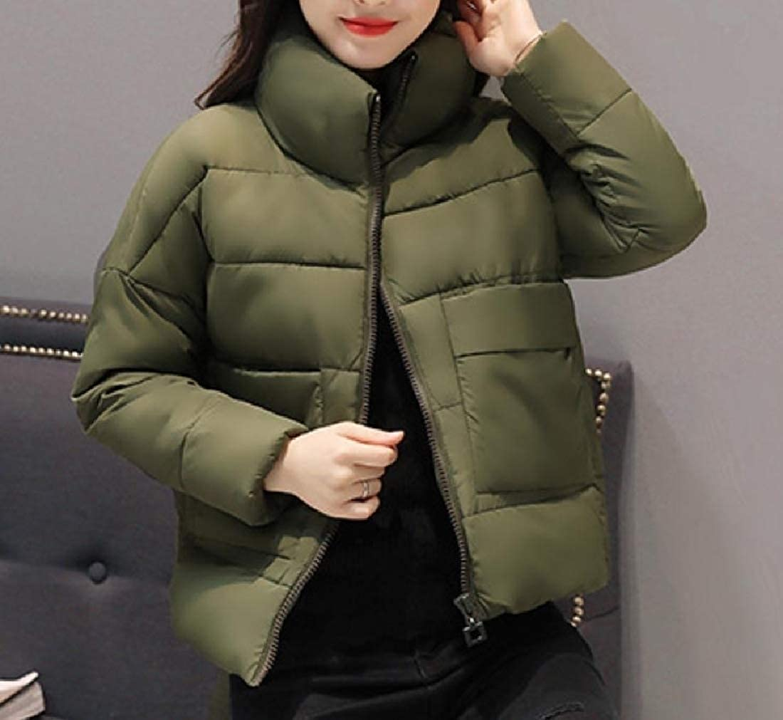 YUNY Women Outwear Stand Collar Solid Colored Short Down Jacket Green L