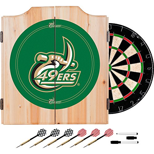 NCAA University of North Carolina Charlotte Wood Dart Cabinet Set
