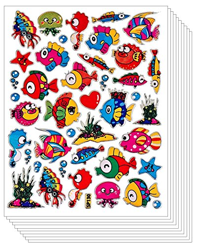 Tropical Jesus Fish Sea Ocean Stickers for Scrapbook Flashy Sparkle Shape (270 pcs, 10 sheets) (Flashy Fish)