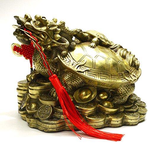 風水アイテム 龍亀 ロングイ ろんぐい 銅製 置物 長さ約20cm高さ約15cmの特大サイズ 招財銭、元宝に乗る龍、亀 招財守護繁栄の十帝古銭付き B0728N2XD4