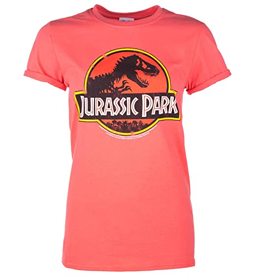 267514fe Image Unavailable. Image not available for. Color: TruffleShuffle Womens  Coral Jurassic Park Logo Boyfriend T Shirt - 90s Movie Tees Pink