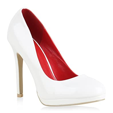 446a994cee7594 Damen Pumps High Heels Klassische Abendschuhe Stiletto Lack Schuhe 154378  Weiss 35 Flandell