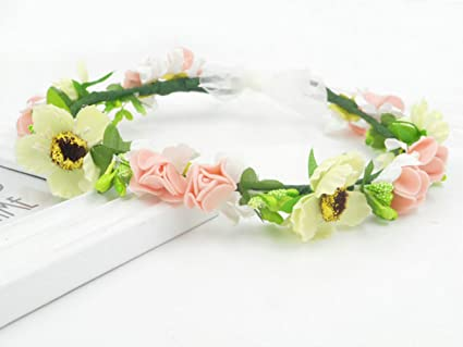 Handmade Crafts Flower Halo Fairy Headband Wedding Headpiece Hairband Crown  Head Band Wreath Bridal Garland Floral 270c93e7d25a