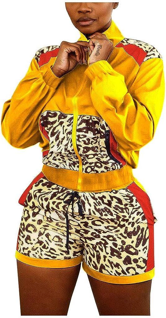 Sportbekleidung Jogginghose WHSHINE 2 Pieces Womens Trainingsanz/üge Winddichte Langarm-Trainingsjacke mit kurzen Hosen Seitenstreifen mit Leoparden-Patchwork Fitness-Studios