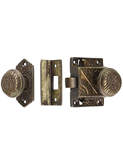 Eastlake Screen Door Latch Set - Surface Mounted In Antique Brass - Eastlake Screen Door Latch Set - Surface Mounted In Antique Brass