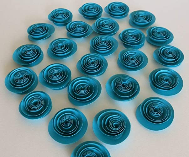 fd858c0c11440 Amazon.com: 24 Turquoise Blue Paper Roses, Dark Teal Wedding Flowers ...