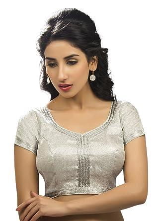 7067905d597031 Amazon.com: Bollywood Blouses Women's Elegant Designer Saree Blouse Silver:  Clothing