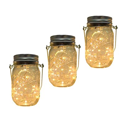 Solar Mason Jar Lantern Light, 3 Pack 20 Led String Starry Hanging Lamp, Fairy Firefly Lights Kit for Patio Garden Wedding Table Decor with Mason Jar & Hanger : Garden & Outdoor