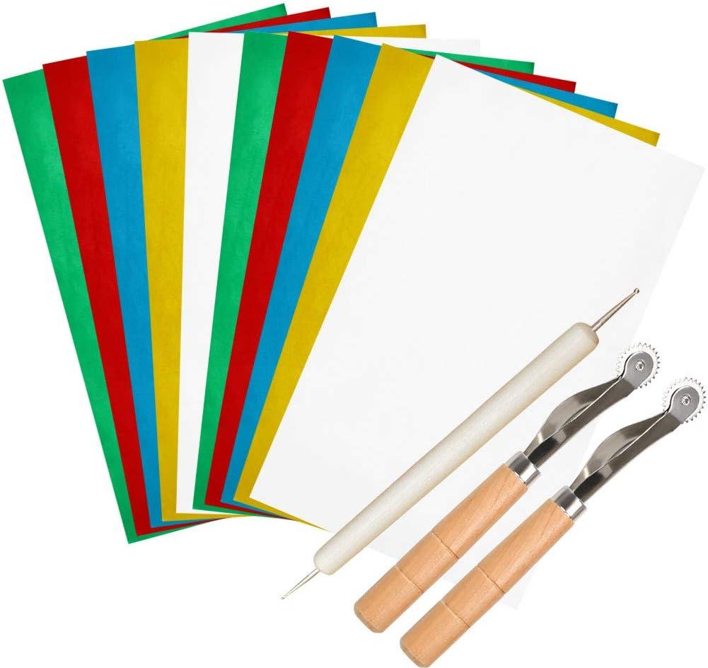 """28 x 23 cm 10 Papiere Kreuzstich,Holz 10 Transparentpapiere und 5 Pr/ägestift f/ür Stoff 2Schreibrad N/ähen,Leinwand /""""N//A/"""" 27-Teilig Transferpapier-Set"""