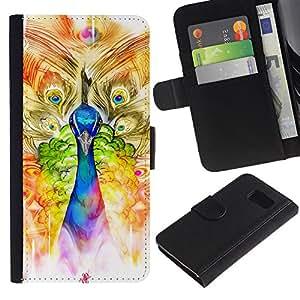 iBinBang / Flip Funda de Cuero Case Cover - Peacock Arte de la acuarela Pintura Dibujo - Samsung Galaxy S6 SM-G920