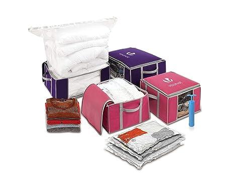 Conjunto de 4 bolsa de almacenamiento de vacío gran capacidad XXL | 4 bolsas de vacío con 4 cajas de almacenamiento | 2 modelo pequeño 154L y 2 ...
