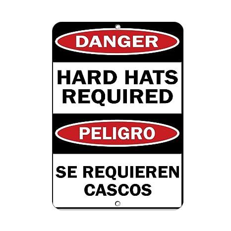 Danger Hard Hats Required Peligro Se Requieren Cascos Aluminum METAL Sign 9 in x 12 in