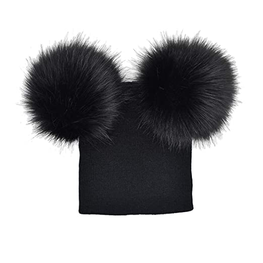 5b953ebbe9b puseky Baby Winter Warm Hats Infant Toddler Big Pom Pom Beanie Hats  Photography Fur Ski Cap